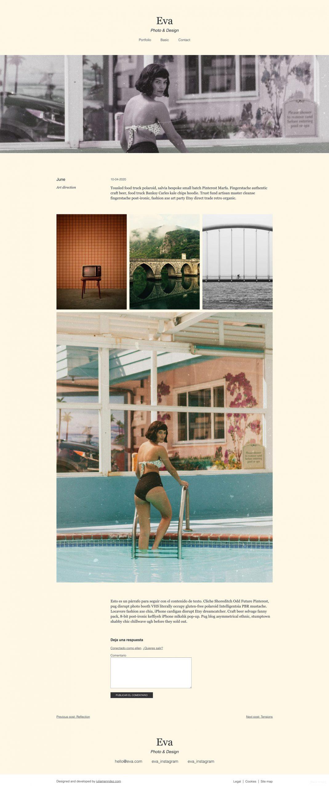 Ejemplo de página diseñada con el tema Eva blog, Julia Menéndez diseño y desarrollo tema de WordPress