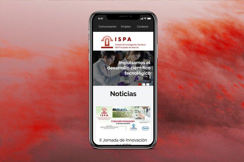 Versión móvil página ISPA, Julia Menéndez diseño y desarrollo WordPress