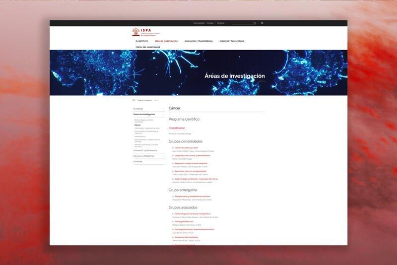 Página ISPA, Julia Menéndez diseño y desarrollo WordPress