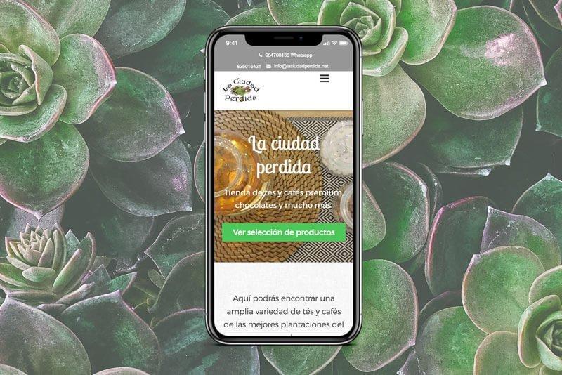 Versión móvil página La Ciudad Perdida, Julia Menéndez desarrollo de tienda online en WordPress