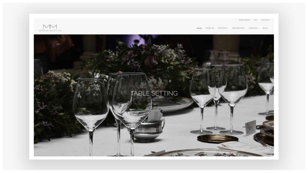 Detalle de la portada de la web de María Martín. Julia Menéndez, diseño y desarrollo WordPress