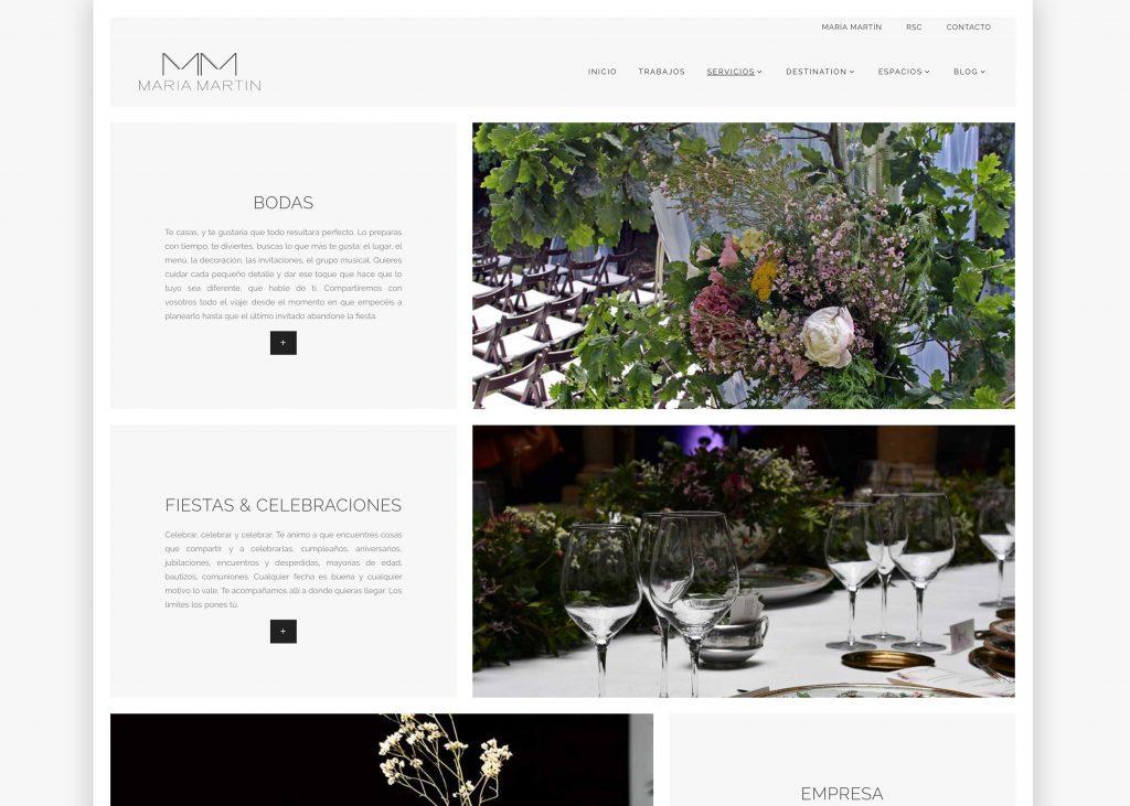 Detalle una página de la web de María Martín. Julia Menéndez, diseño y desarrollo WordPress