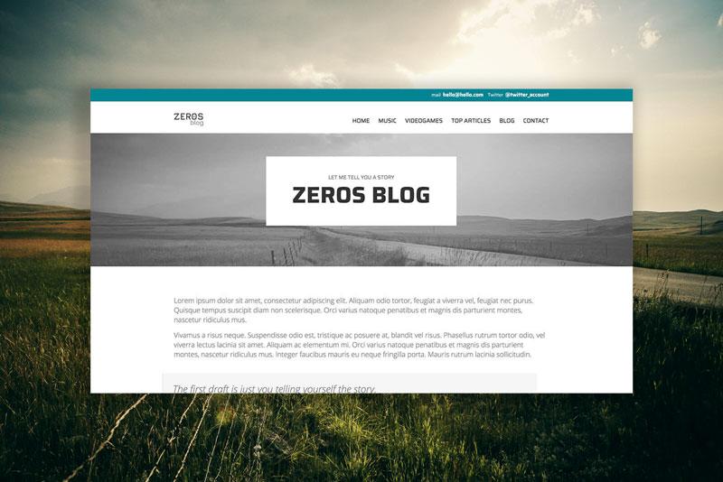 Detalle portada del tema Zeros, Julia Menéndez diseño y desarrollo tema de WordPress