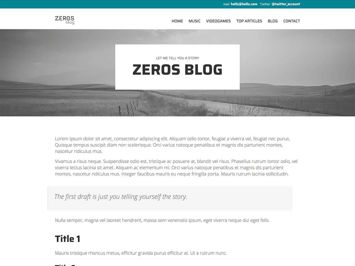 Detalle página del tema Zeros, Julia Menéndez diseño y desarrollo tema de WordPress
