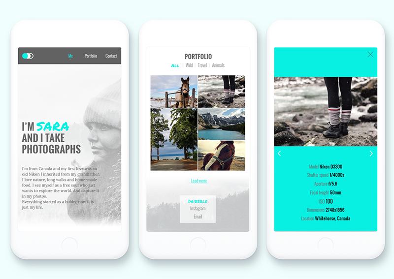 Versión móvil portfolio para fotógrafos, Julia Menéndez diseño web freelance