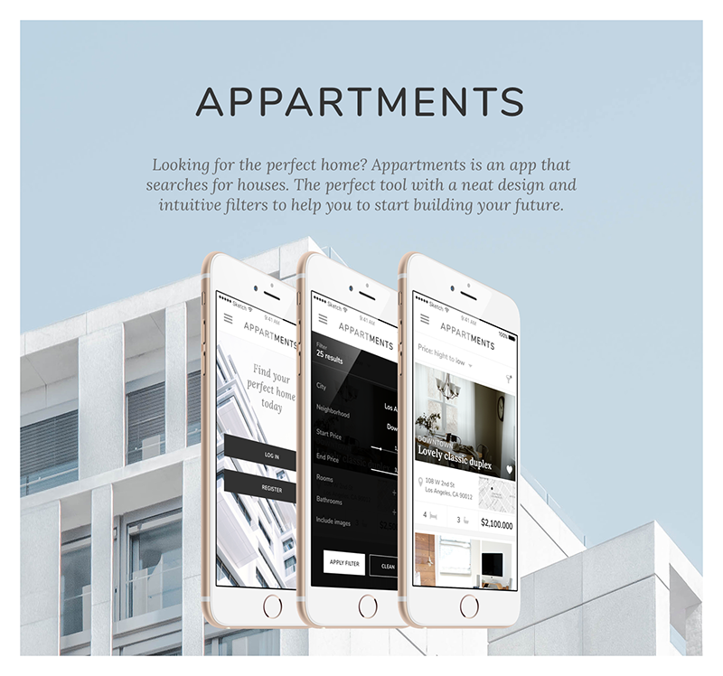 Appartments buscador de casas, Julia Menéndez diseño web freelance