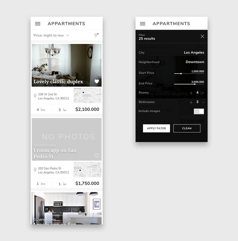 Appartments buscador de casas, Julia Menéndez diseño web freelance